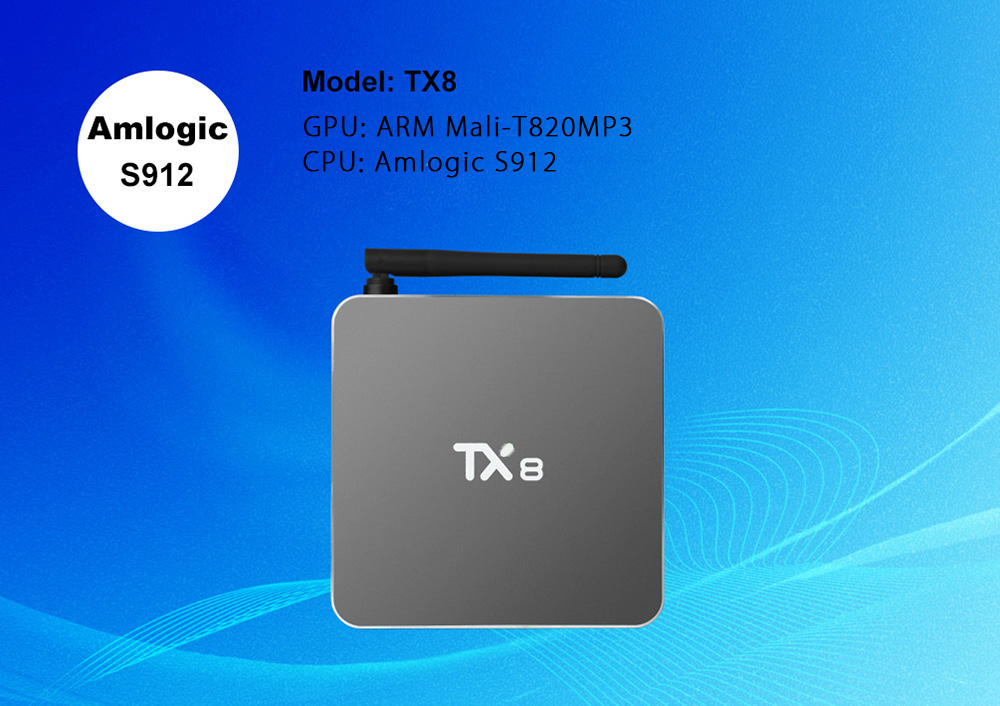 TX8 Android 6.0 TV Box with Amlogic S912 Octa Core Dual Band WiFi 2.4GHz + 5GHz Bluetooth 4.0 Mini PC- Silver US Plug