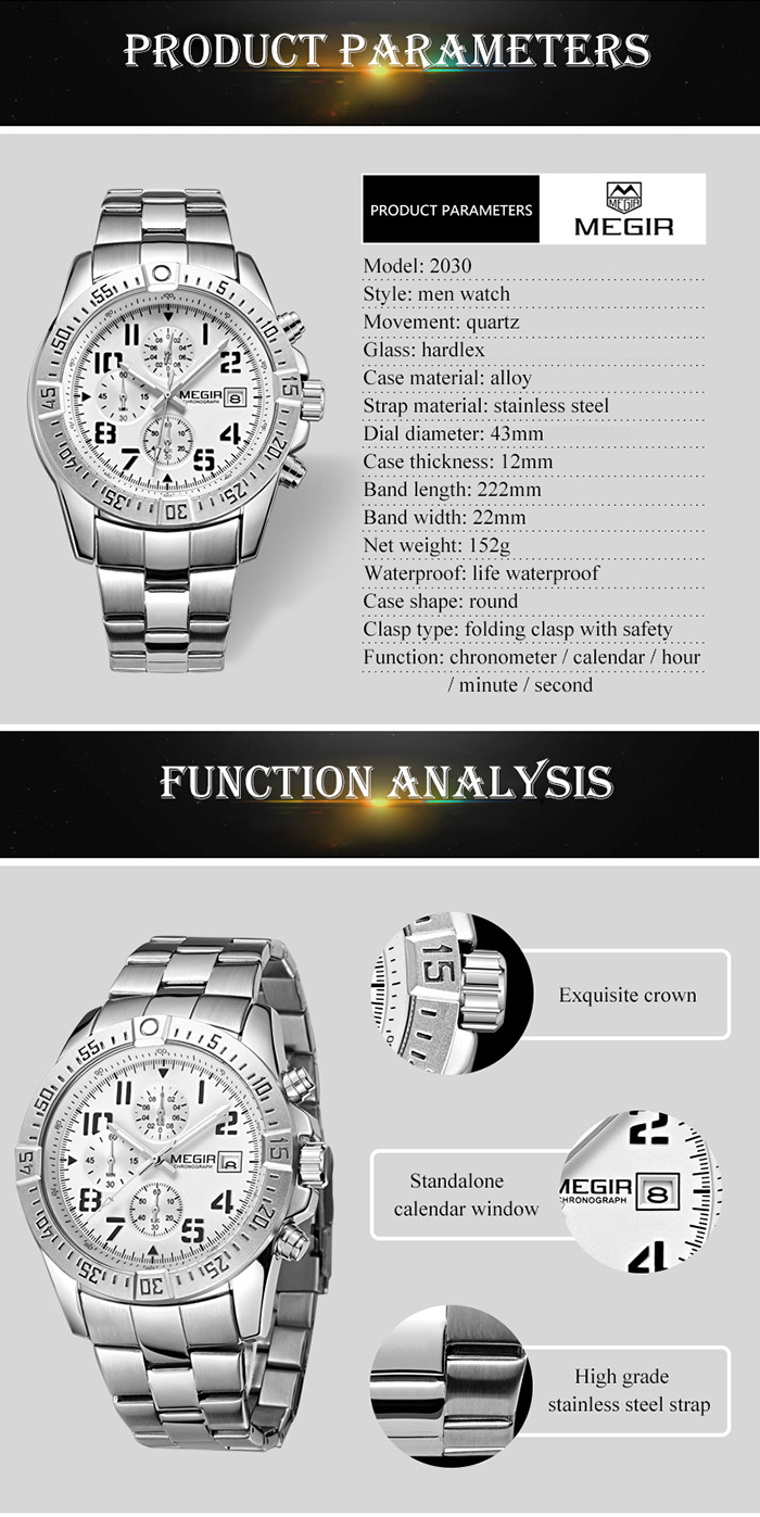 MEGIR 2030 Fashion Chronograph Calendar Wristwatch Men Quartz Watch- Silver