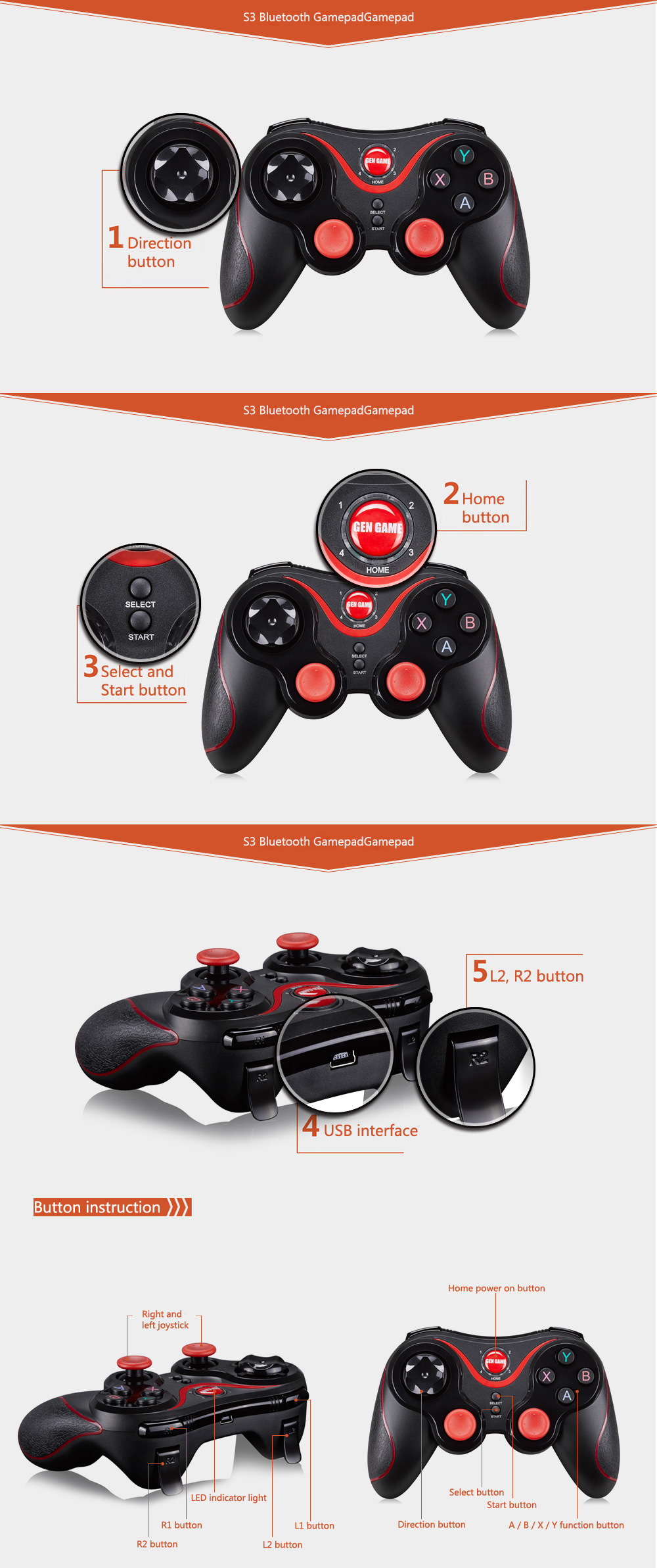 GEN GAME S3 Wireless Bluetooth 3.0 Gamepad Gaming Controller for PC Android Phone