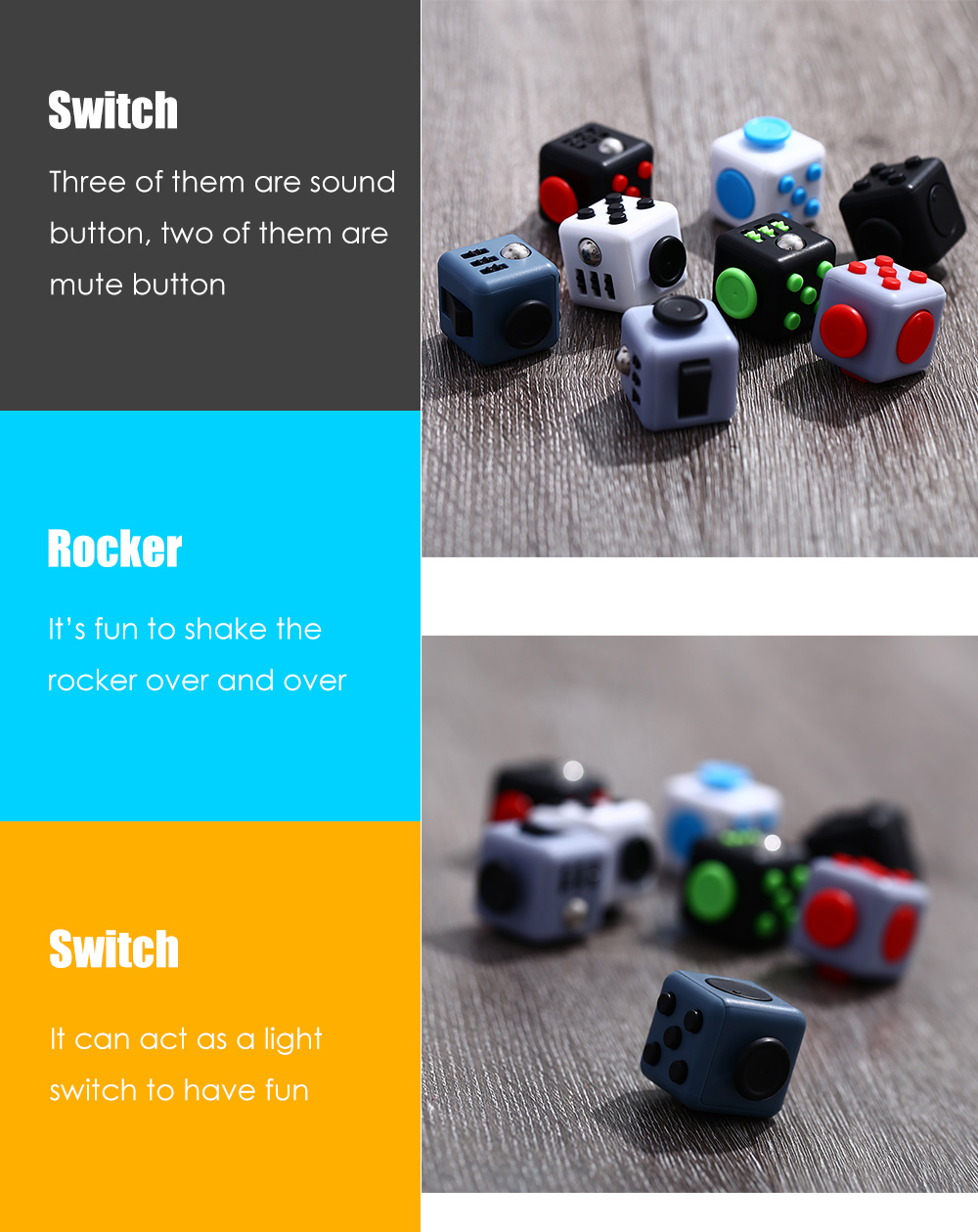 Cute Magic Cube Style Stress Reliever Pressure Reducing Toy for Office Worker