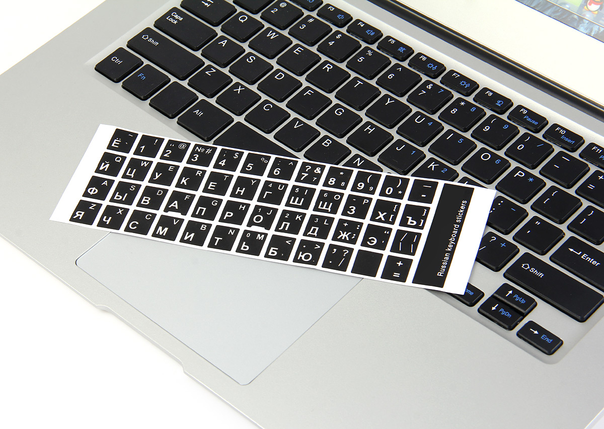 3ec3b5cfba2 White Letters Russian English Keyboard Sticker Decal Black for PC Laptop- Black  RUSSIAN + ENGLISH ...