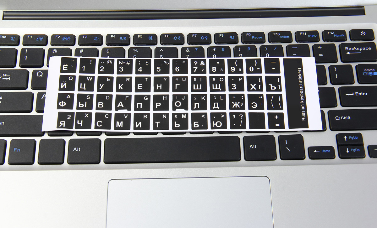 942716df720 ... White Letters Russian English Keyboard Sticker Decal Black for PC Laptop  ...