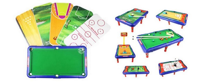DECAKER 6 In 1 Billiard Ball Snooker Pool Table Top Game Kid Toy
