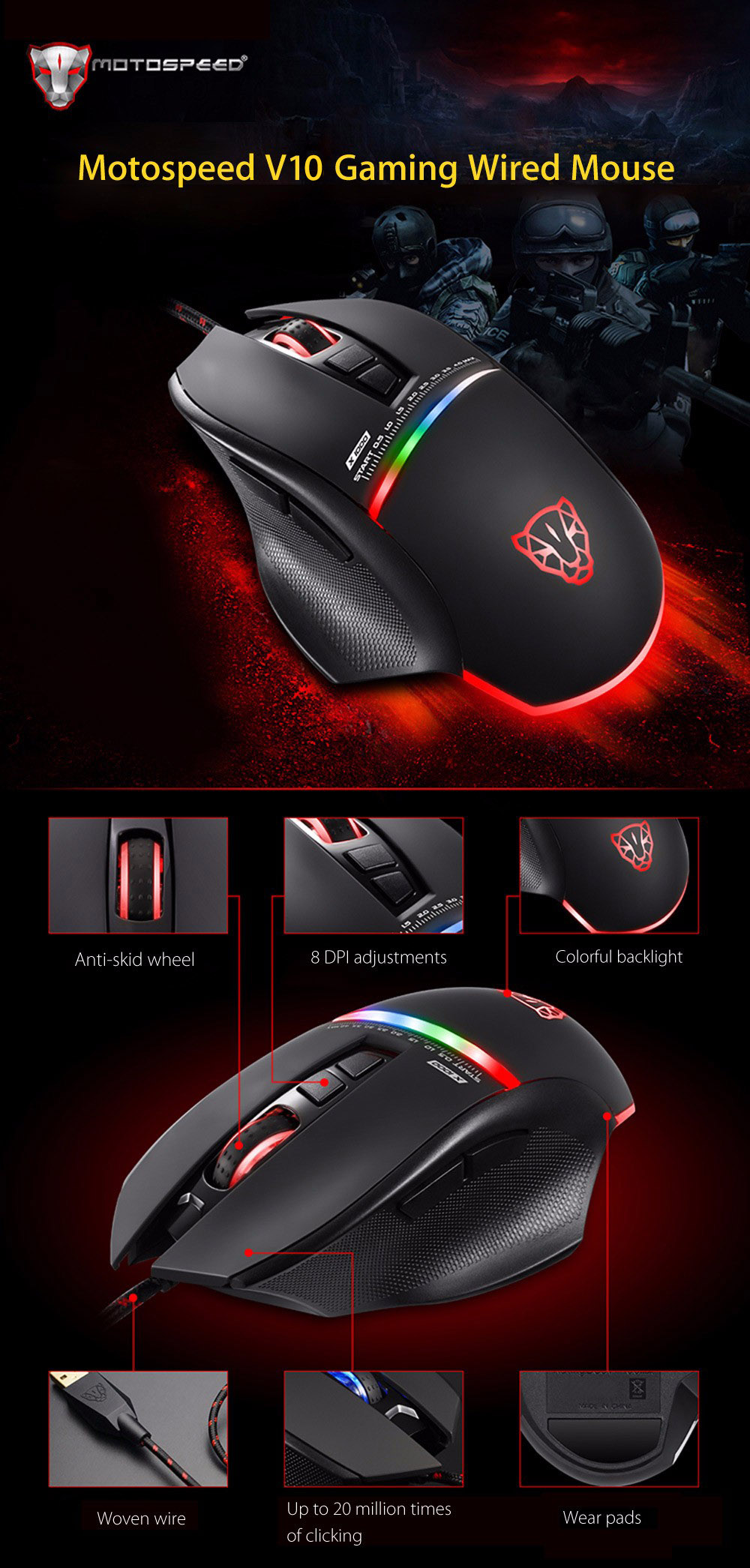 Motospeed V10 USB Gaming Wired Mouse with LED Backlight- Black
