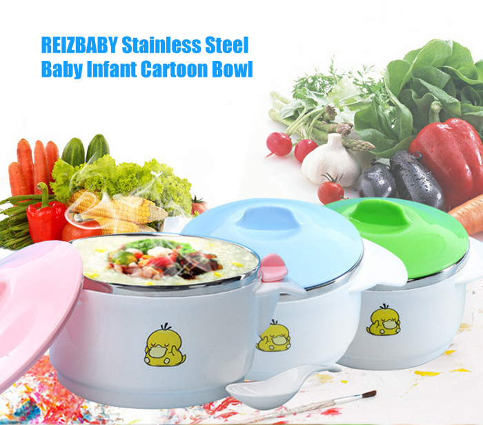 REIZBABY Stainless Steel Baby Infant Bowl with Sealed Cover
