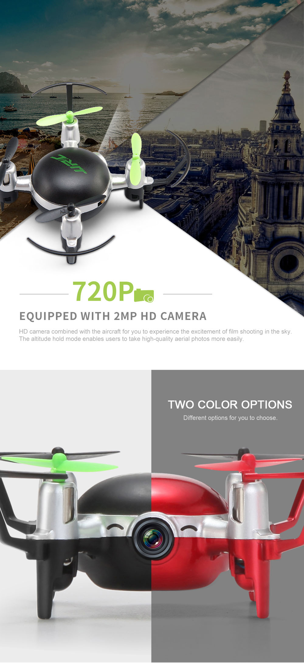 JJRC H30CH Mini HD 2MP CAM 2.4GHz 4CH 6 Axis Gyro Quadcopter CF Mode with Light