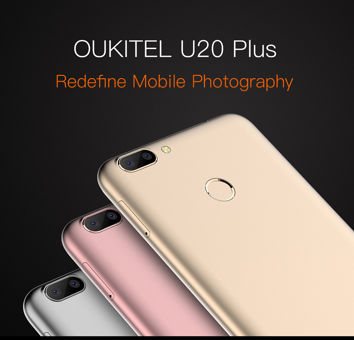 OUKITEL U20 Plus 4G Phablet 5.5 inch IPS Screen Android 6.0 MTK6737T Quad Core 1.5GHz 2GB RAM 16GB ROM 5MP + 13MP Cameras Fingerprint Sensor