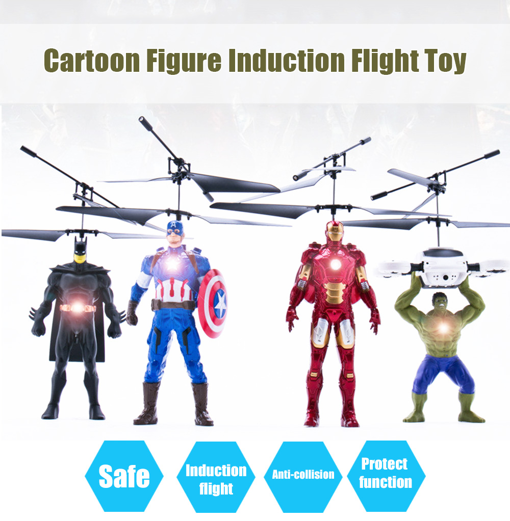 ZOYO Cartoon Hero Infrared Control Helicopter Robotic Toy with Colorful Light