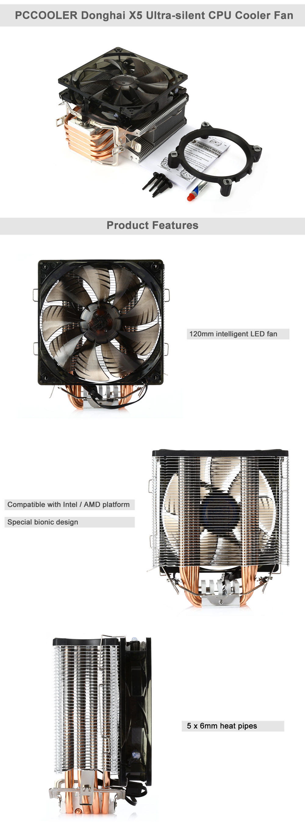 DealHills.com Processor cooler PCCOOLER Donghai X5 Components