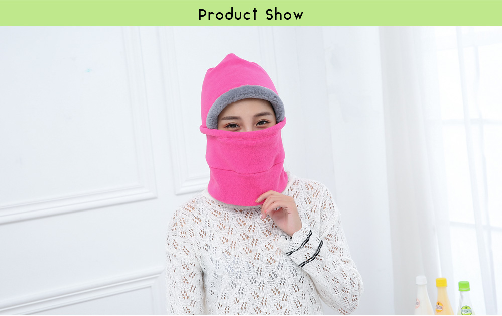 All-around Protection Fleece Cycling Hat Winter Warm Cap with Face Mask Neck Warmer