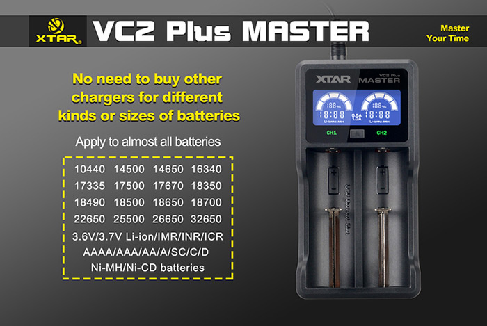 Xtar VC2 Plus Master Digital Intelligent 2 Slots LCD Battery Charger for Li-ion Ni-MH Batteries