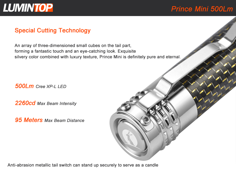 LUMINTOP Prince Mini CREE XPL 500Lm Stainless EDC LED Flashlight