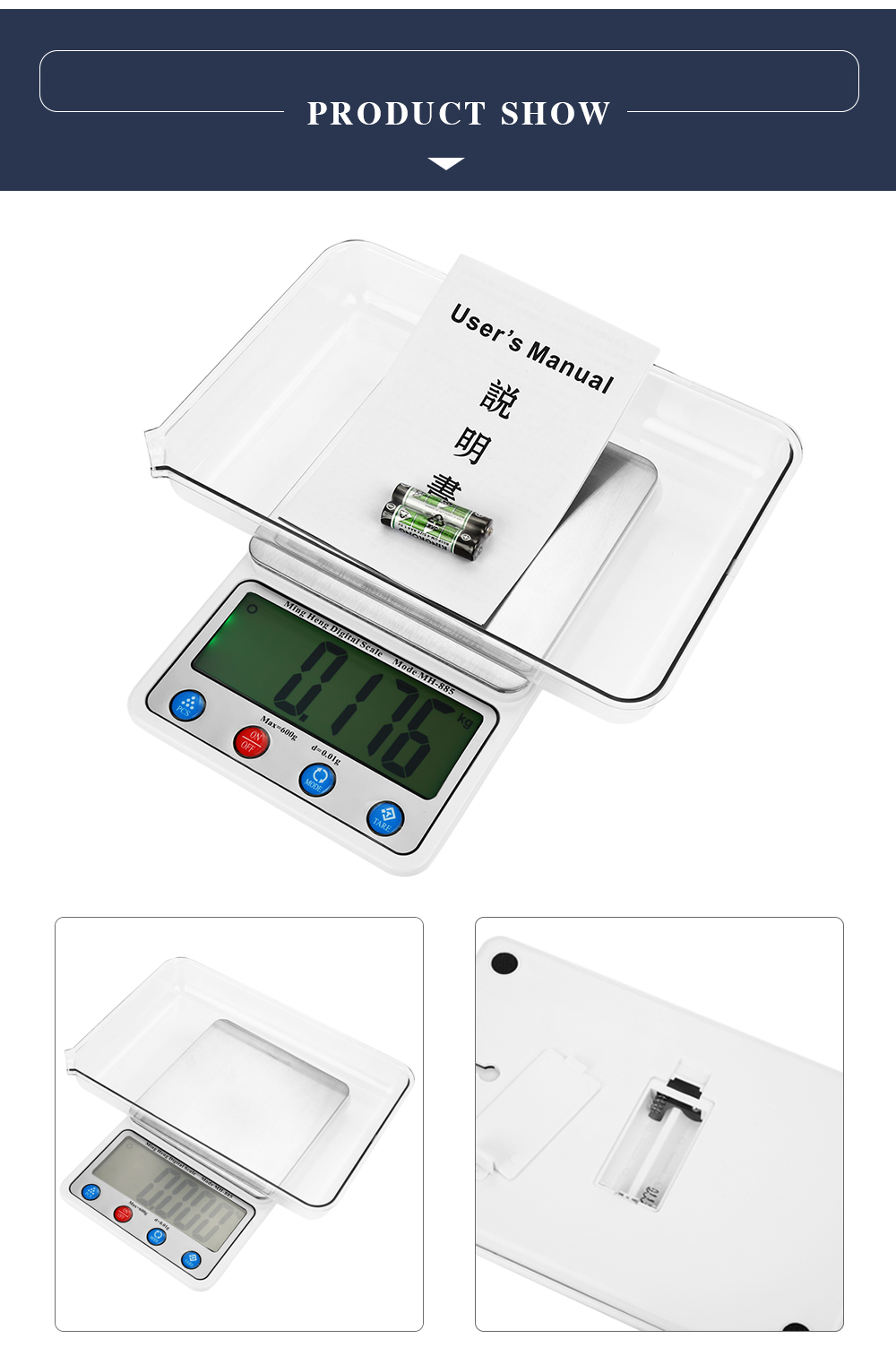 MH - 885 600g 4.5 inch LCD Digital Scale with 0.01g High Accuracy