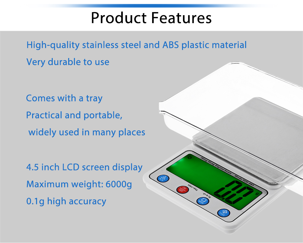 MH - 885 Precise 6000g 4.5 inch LCD Screen Digital Scale for Medicine