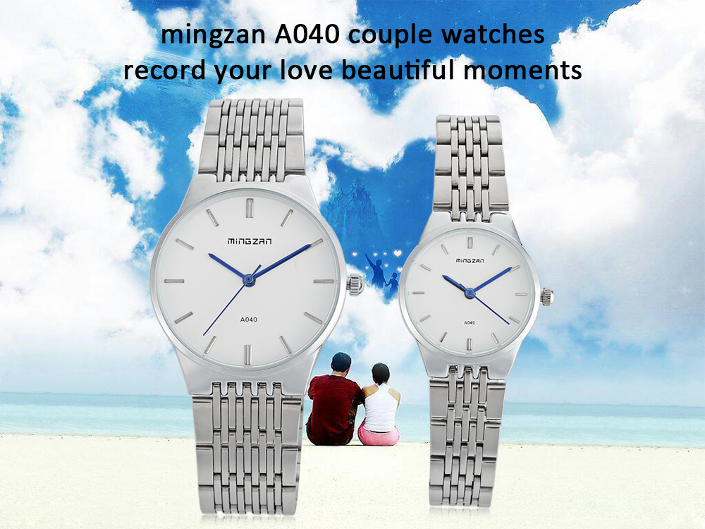 mingzan A040 Fashion Couple Watches Nail Scale Stripe Pattern Dial Wristwatches