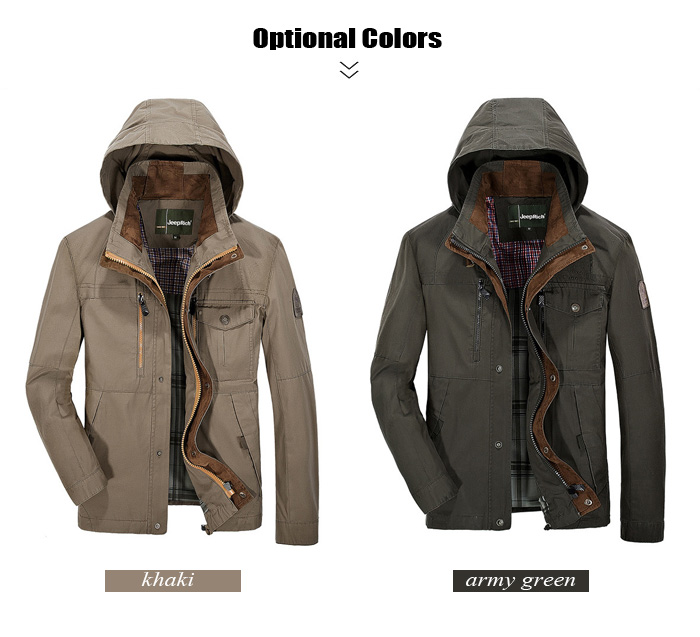 Jeep Rich Outdoor Cotton Stand-up Collar Hooded Jacket Autumn Windbreaker