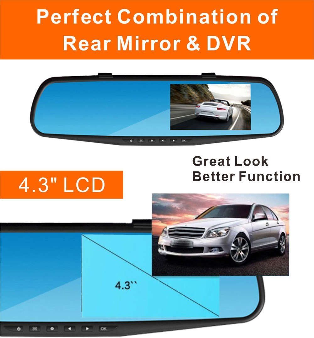 RM-LC2010 1080P Full HD 30W Pixel 170 Degree Wide Angle Car Rearview Mirror Back Camera Monitor DVR Loop Cycle Recording Parking Monitoring Motion Detection- Blue and Black