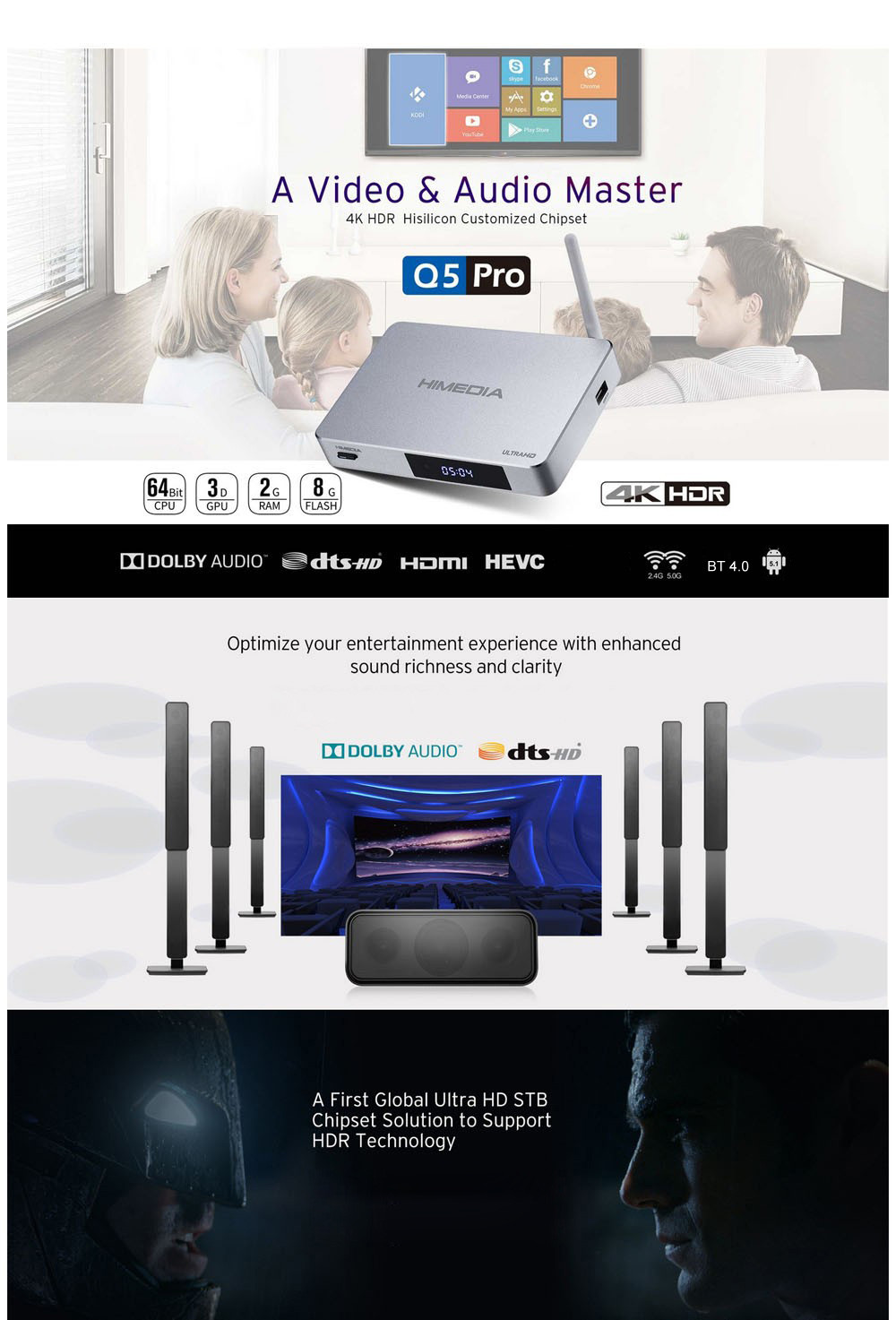 Himedia Q5 Pro TV Box Hi3798CV200 Quad Core Android 5.1.1 OS with KODI 16.1 1000M Dual Band WiFi Bluetooth 4.0
