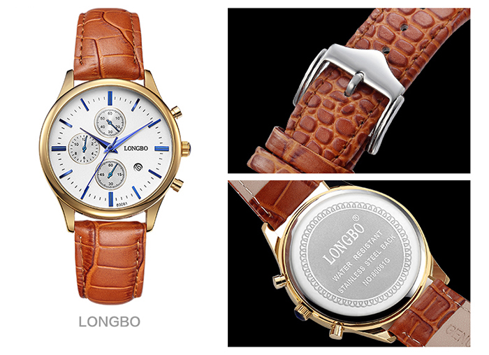 LONGBO 1218 Fashion Male Quartz Watch Decorative Sub-dial Wristwatch