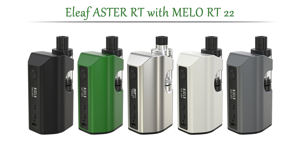 Original Eleaf ASTER RT with MELO RT 22 / 1 - 100W / 200 - 600F / 100 - 315C for E Cigarette- Black
