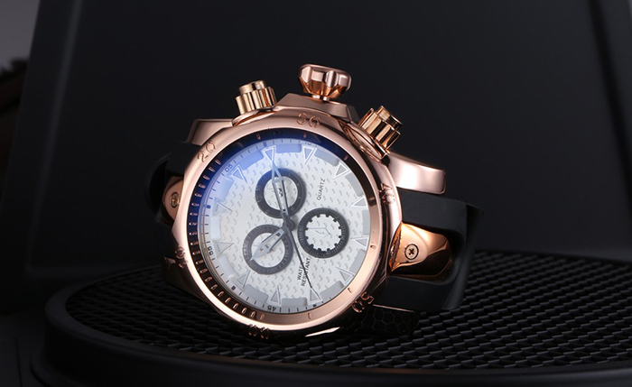 SHHORS 1216 Fashion Decorative Sub-dial Male Quartz Watch Silicone Strap Wristwatch