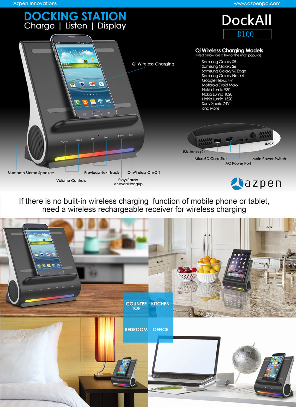 AZPEN D100 Qi Wireless Charger Bluetooth 4.0 HiFi Speaker Charging Dock  Station with Dual USB Output