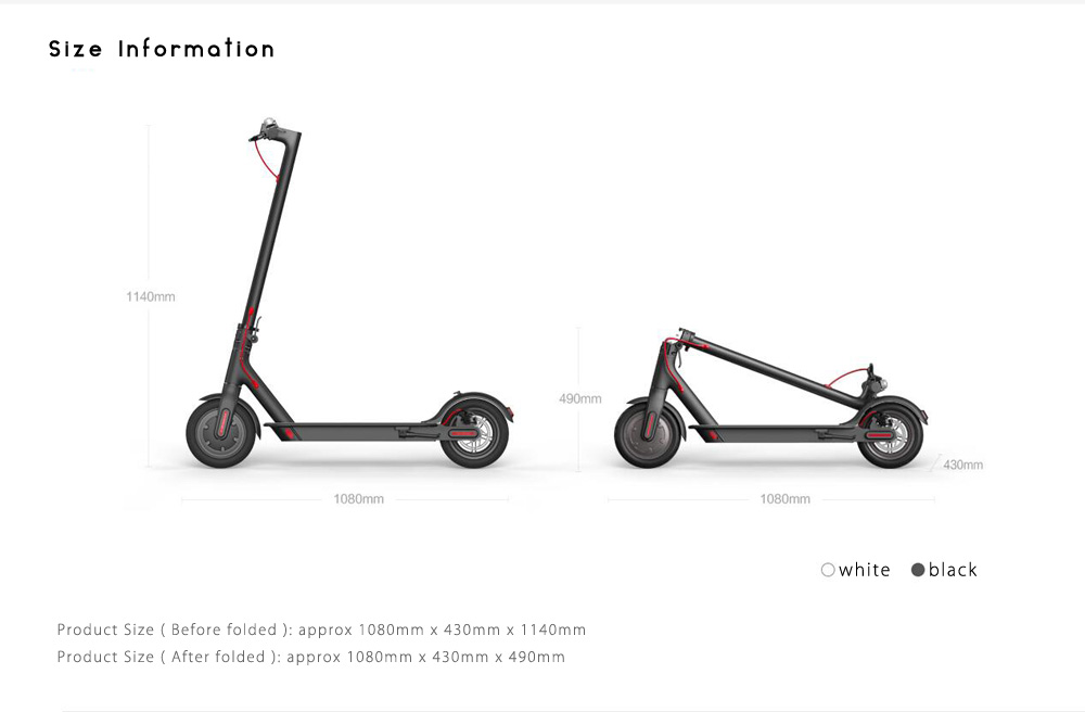 Original Xiaomi M365 Folding Electric Scooter Ultralight Skateboard with E - ABS Kinetic Energy Recovery System Cruise Control Function Intelligent BMS- Black