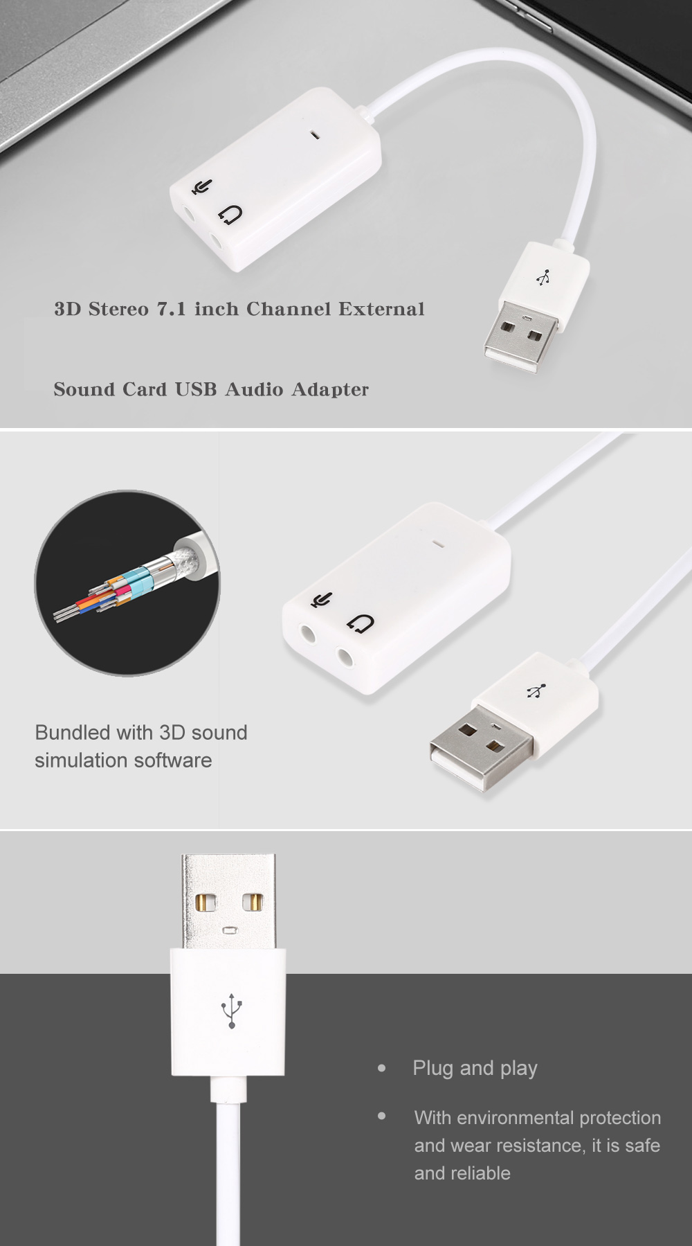 3d Stereo 71 Inch Channel External Sound Card Usb Audio Adapter For Skype Headsets White