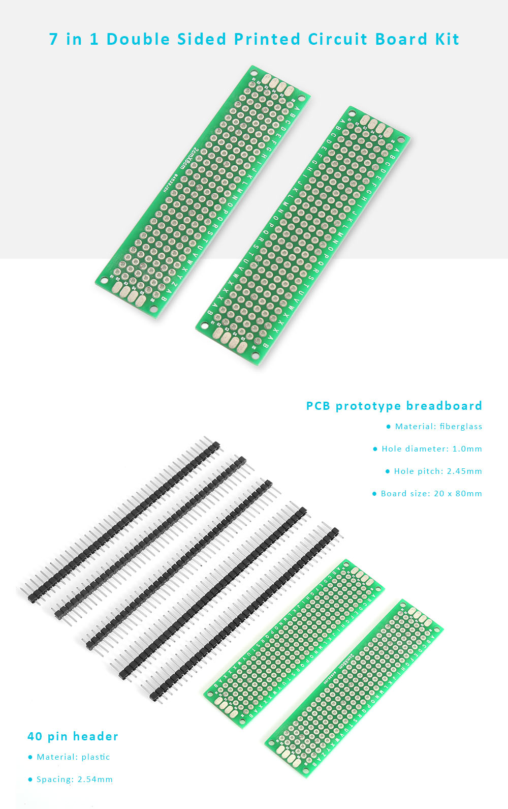 7 In 1 Double Sided Printed Circuit Board Kit For Diy 161 Free Fiberglass Package Contents 5 X Pin Header 2