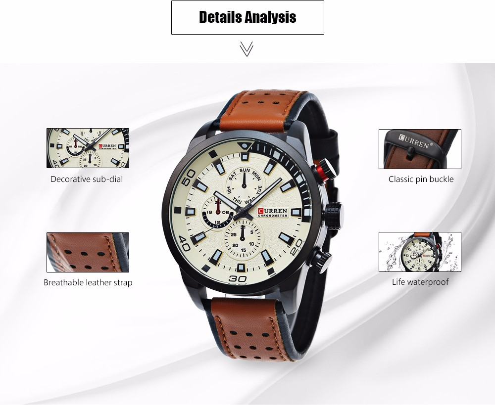 CURREN 8250 Casual Male Quartz Watch Decorative Sub-dial Wristwatch