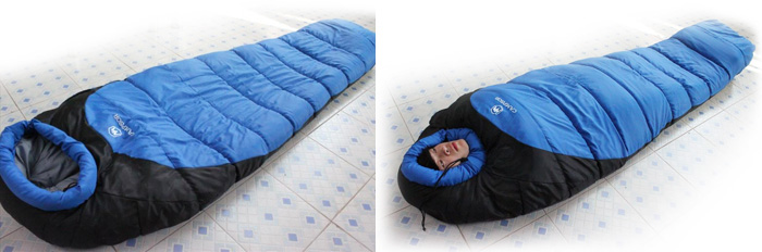 Mummy Style 1 Person Sleeping Bag With Warm Cotton Filling