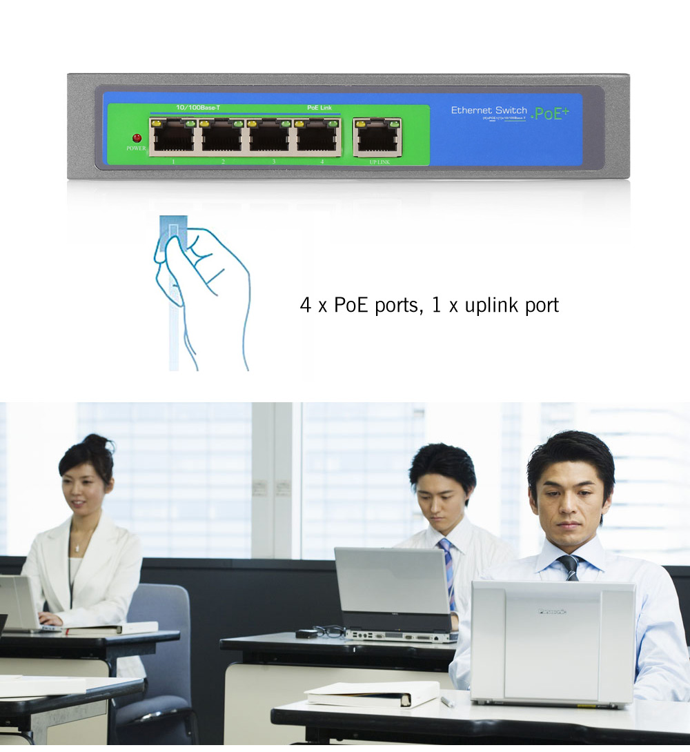 104POE - 5X - M 5 Port 10 / 100Mbps Fast Ethernet PoE Switch