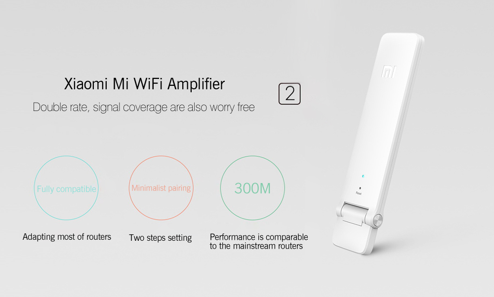 Original Xiaomi Mi WiFi 300M Amplifier 2 Expander for Mi Router- White CHINESE VERSION