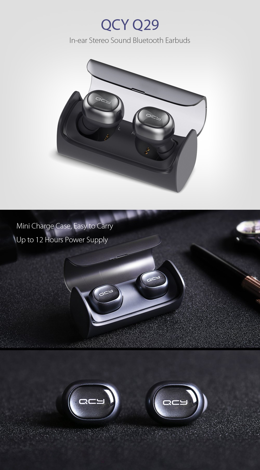QCY Q29 In-ear Stereo Sound Bluetooth Earphones- Black