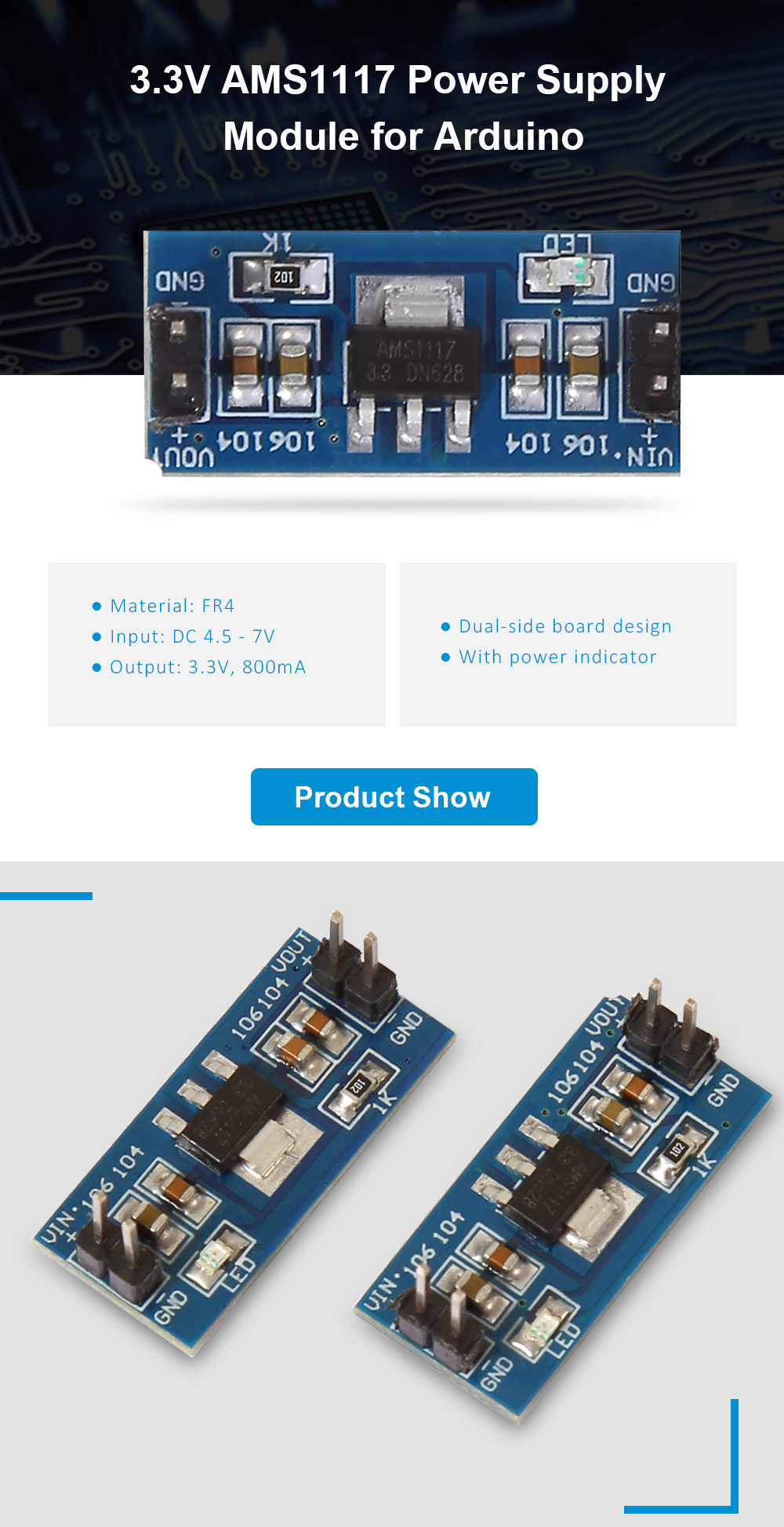 2PCS 3.3V AMS1117 Power Supply Module for Arduino Lovers