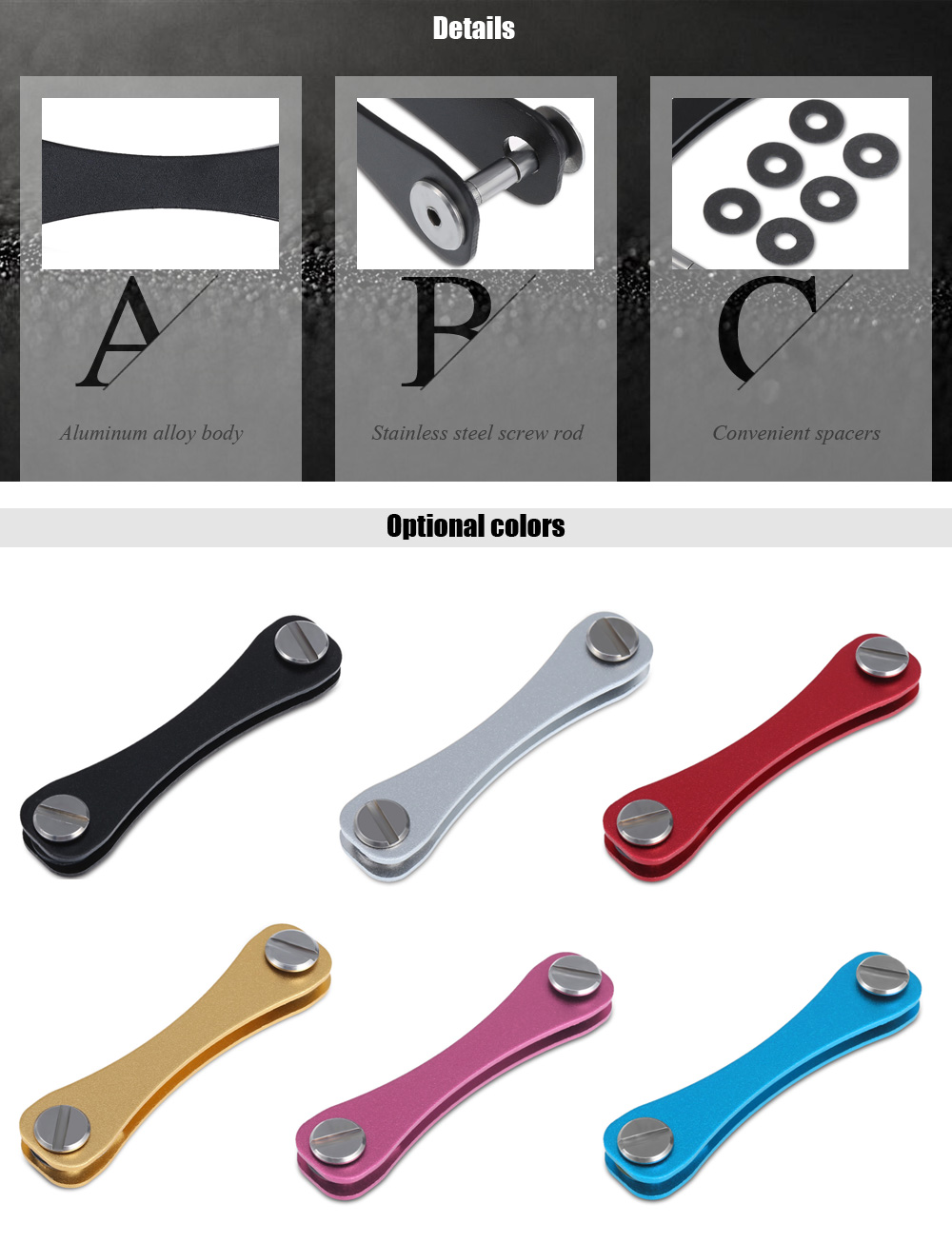 FURA Aluminum Alloy EDC Tool Key Holder Clip with Spacers