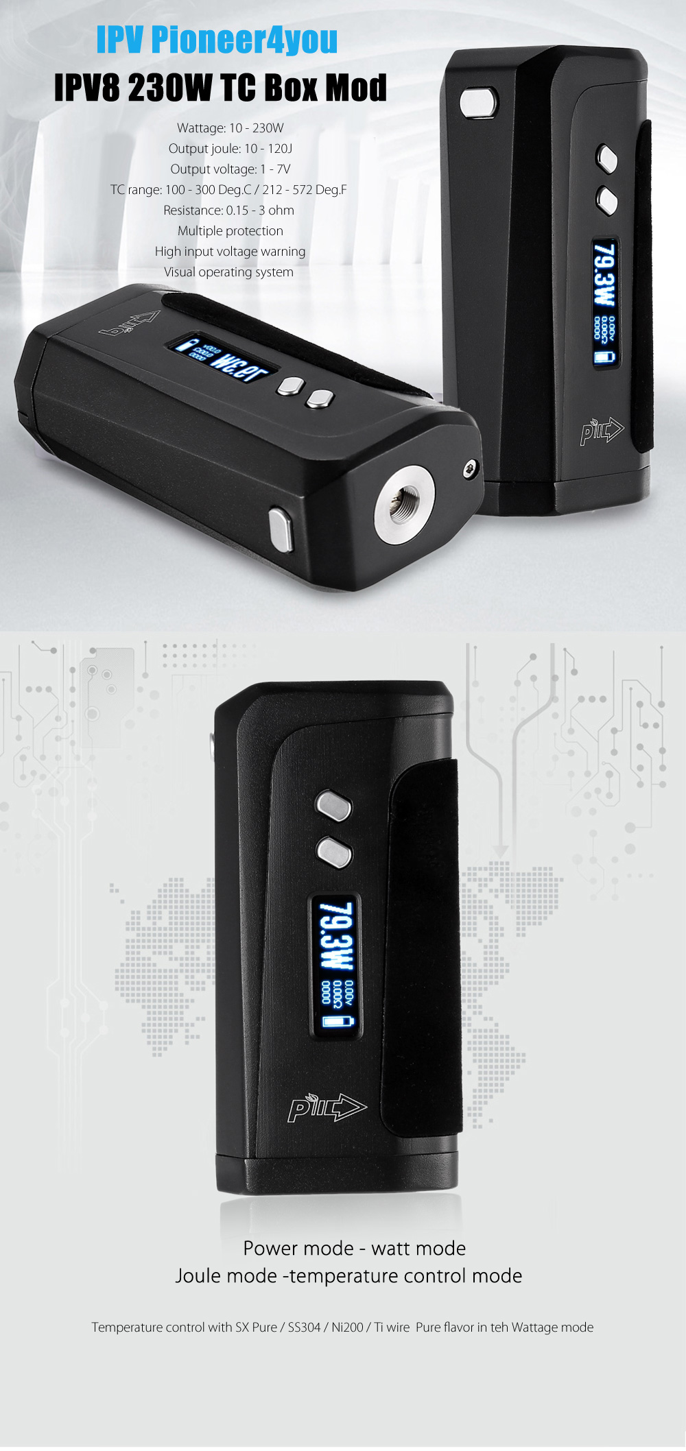 Original Ipv Pioneer4you Ipv8 230w Tc Box Mod 6063 Free Shipping Sx 230 Wiring Diagram Package Contents 1 X Micro Usb Cable English User Manual