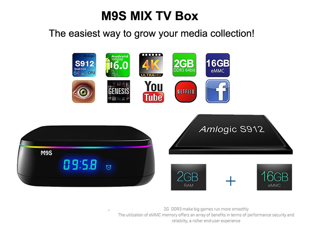 M9S MIX TV Box Amlogic S912 Octa Core Android 6.0 2.4G + 5G Dual Band WiFi Bluetooth 4.0 2G DDR3 RAM + 16G eMMC ROM