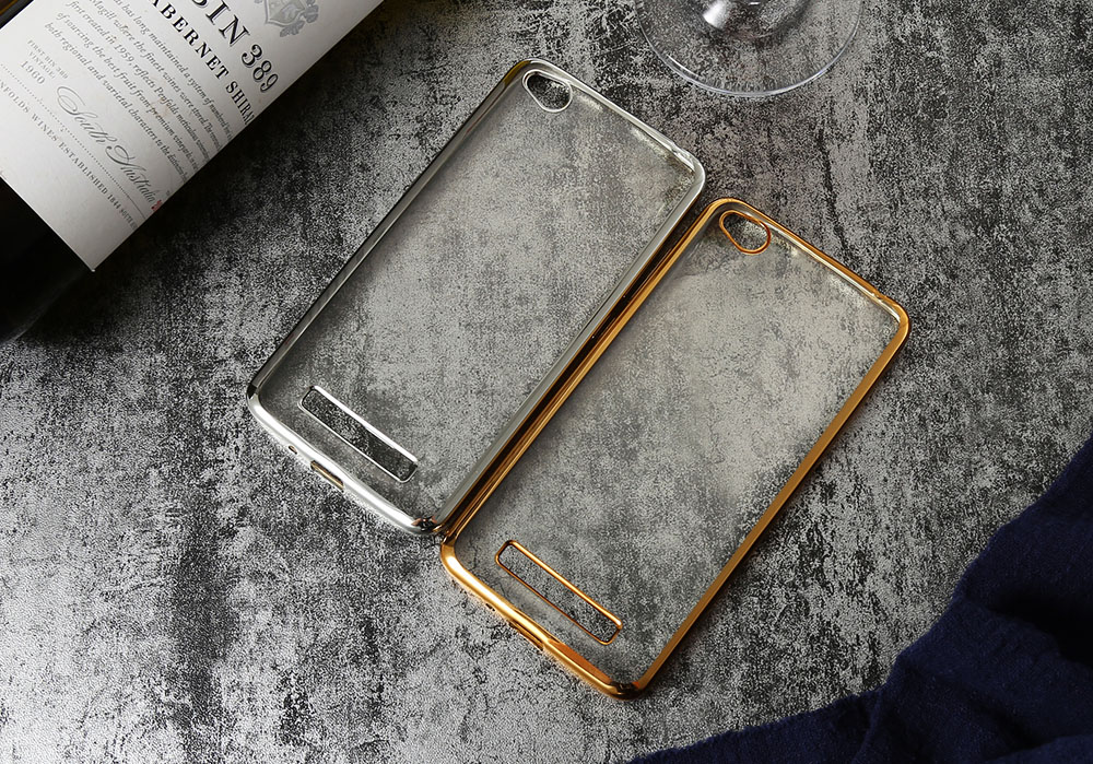 ASLING TPU Soft Protective Phone Case for Xiaomi Redmi 4A Electroplated Edge Transparent Shell