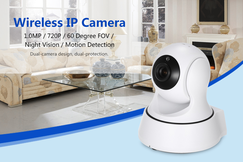 Cam360 720P Pan Tilt 1.0MP Wireless IP Camera 60 Degree FOV Night Vision