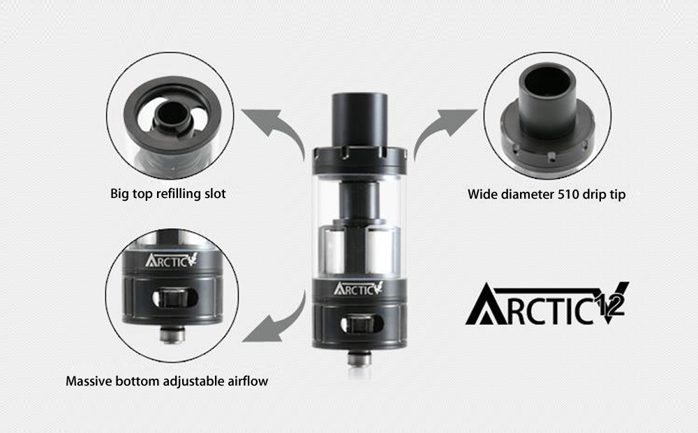Original Horizon Arctic V12 Clearomizer with RBA Coil / 0.1 ohm / 5ml Capacity for E Cigarette