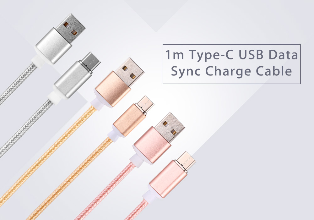 Magnetic Type-C USB Cable Nylon Braided Data Sync Charging Cord - 1m