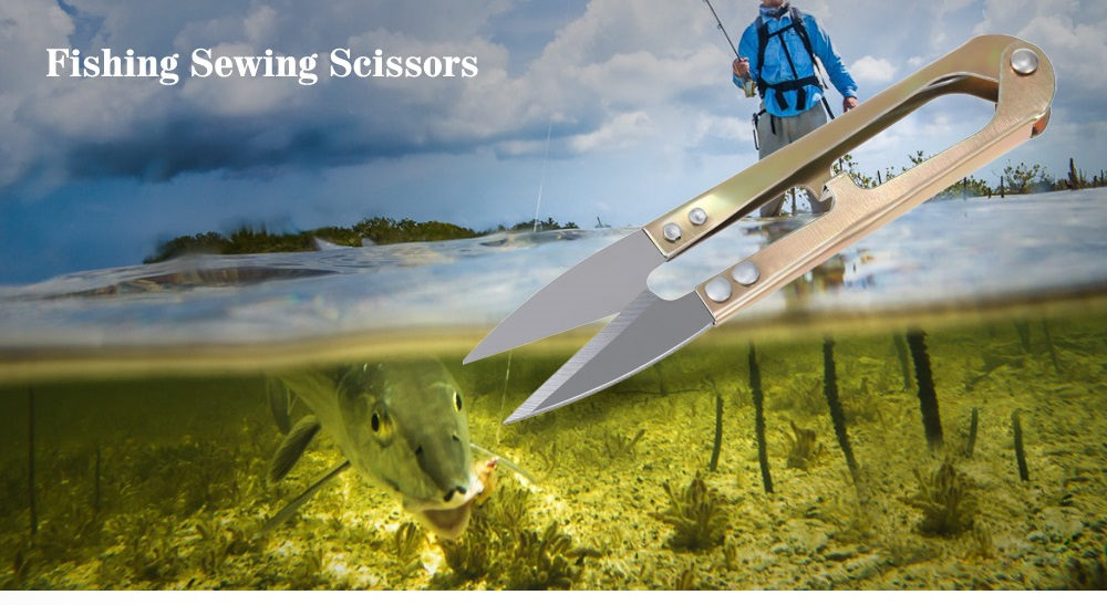Portable Stainless Steel Fishing Sewing Scissors Wire Cutter with Spring Design