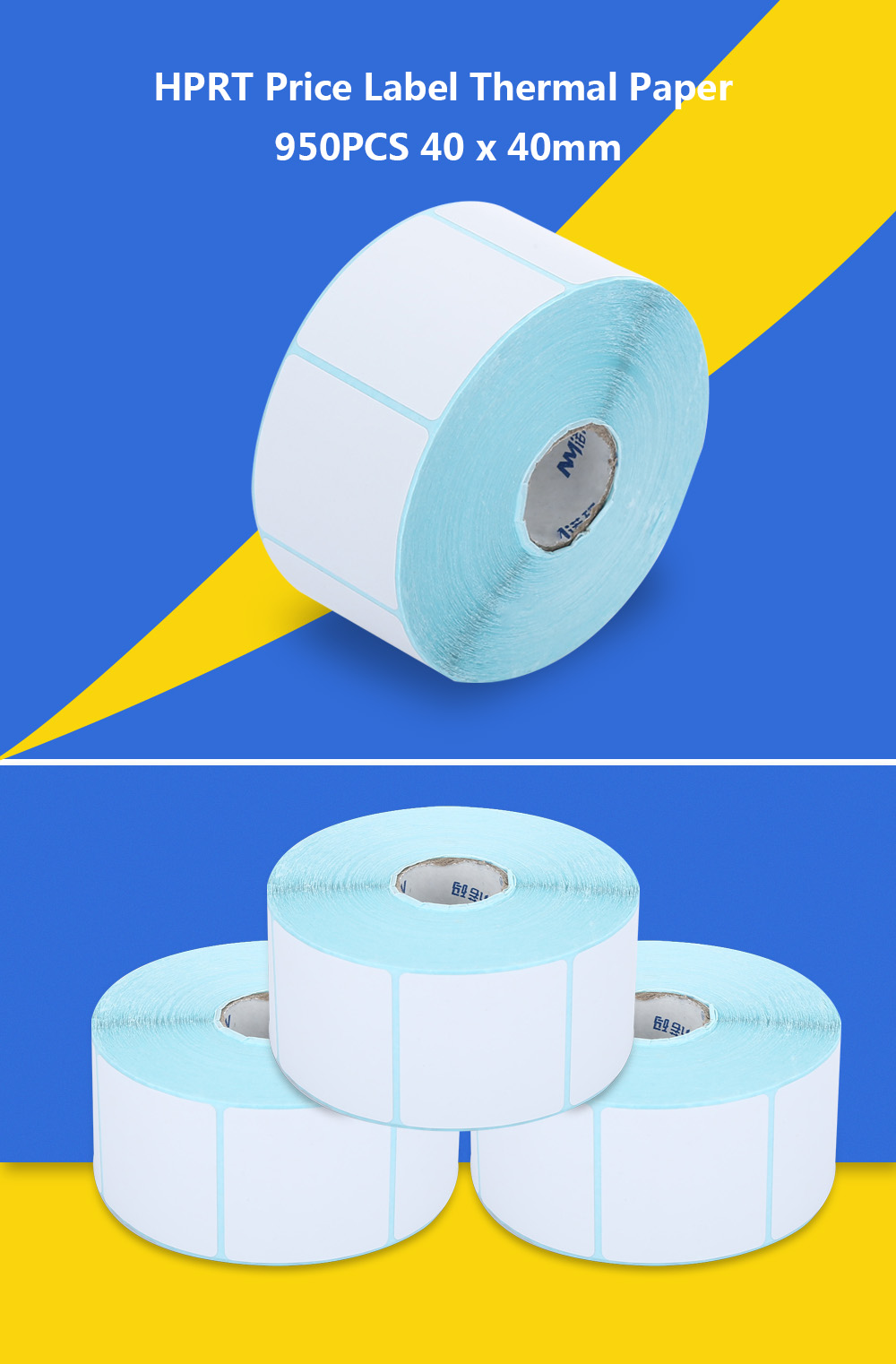HPRT Thermal Label Paper Sticker Price Roll 950PCS 40 x 40mm