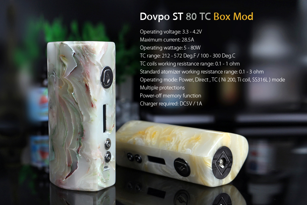Original Dovpo ST 80 TC Box Mod with 5 - 80W / 3.3 - 4.2V / Supporting 1pc 18650 Battery for E Cigarette- Colormix