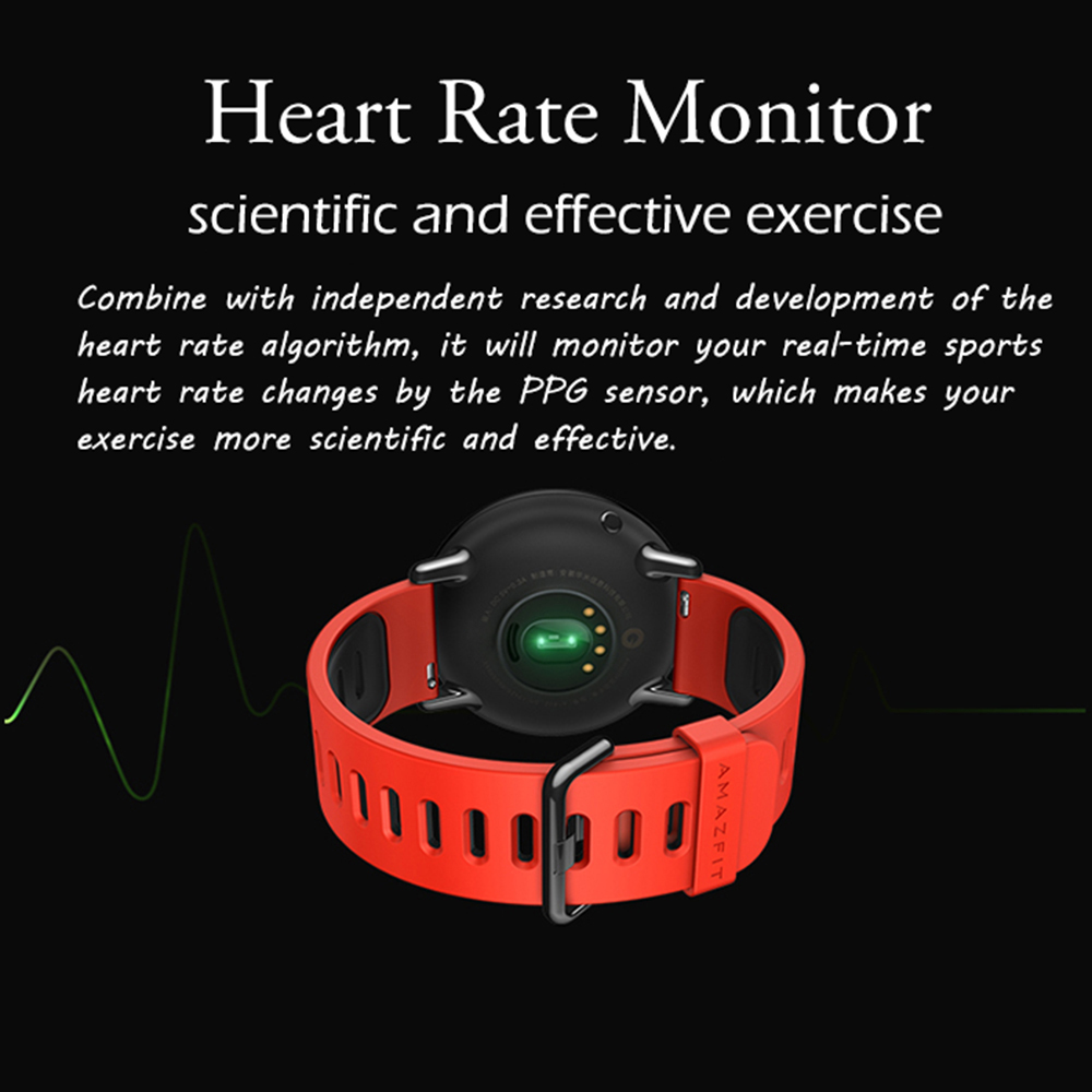 Original AMAZFIT Sports Smartwatch Bluetooth 4.0 Heart Rate Monitor GPS Pedometer- Black International Version