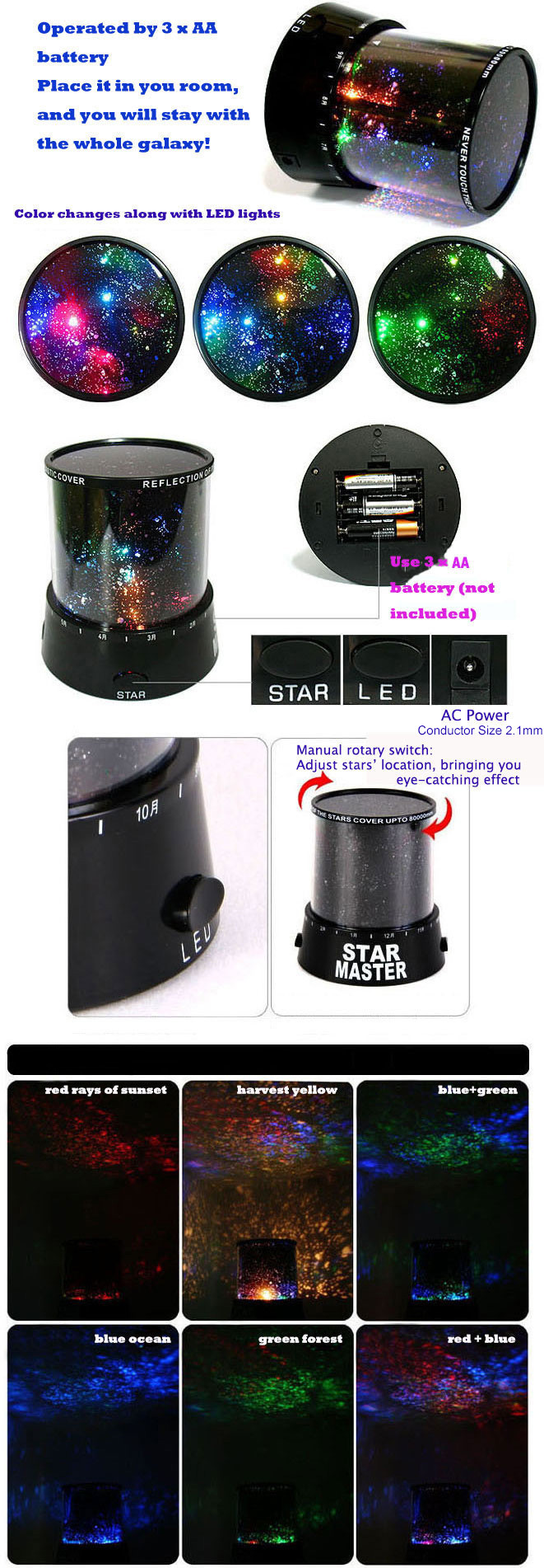 Star Projector Lamp Starry Sky Night Light Aa Dc Powered 504 Austar 4 Colors Led 4bulb Circuit Board Rc Car Parts 5v For Kids Bedroom Colorful