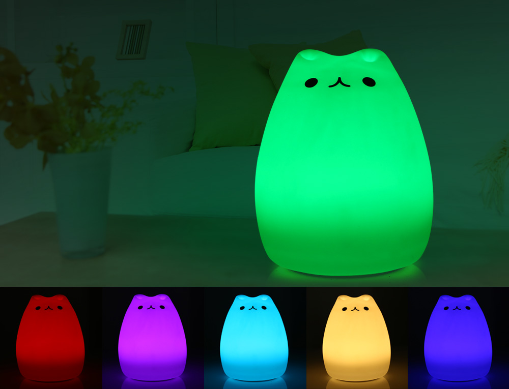 Color Changing Silicone Cat Night Light Baby Nursery Bedside Lamp- White