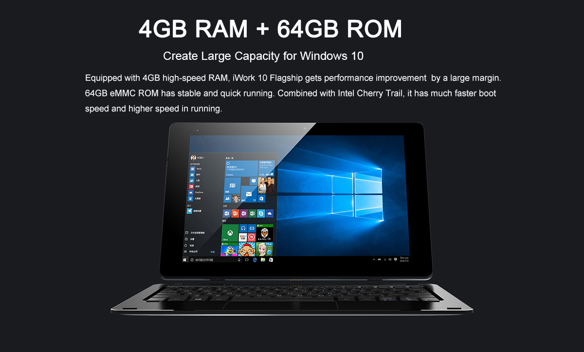 Cube iWork 10 10.1 inch Flagship Tablet PC Ultrabook Windows 10 + Android 5.1 Intel Atom X5-Z8350 Quad Core 1.44GHz 4GB RAM 64GB ROM Type-C Dual Cameras IPS Screen