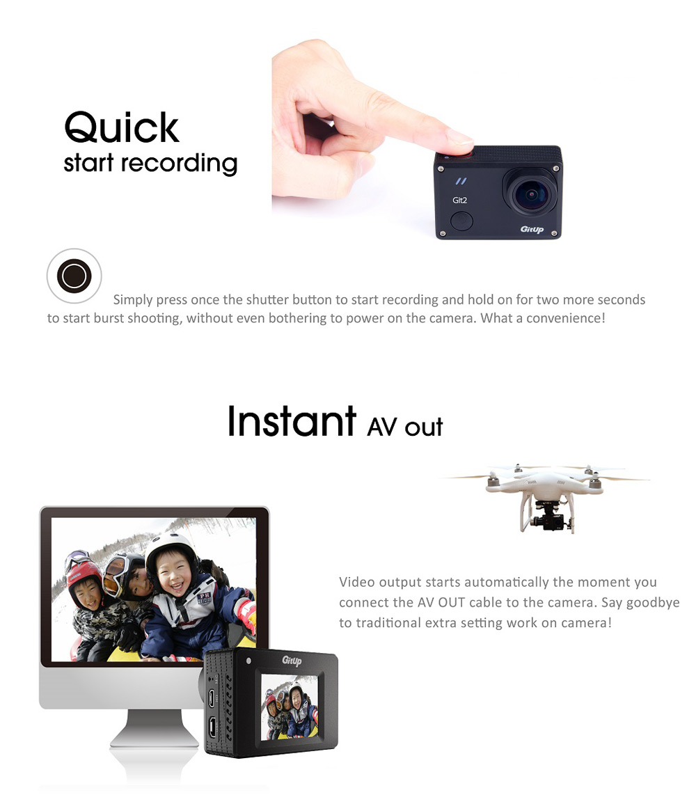 GitUp Git2P 2160P WiFi Action Camera 90 Degree Wide Angle Novatek 96660 Chipset